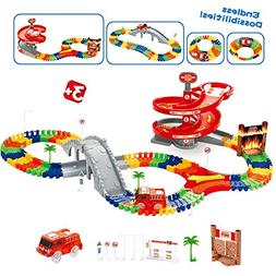 Race Car Track Toy with 96 Pieces Flexible Tracks Set, Fire