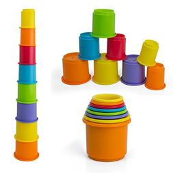 Rainbow Stacking & Nesting Cups Baby Building Set. 8 Pieces.