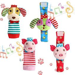 FunsLane Baby Rattle, Baby Wrist Rattles and Foot Finder Soc