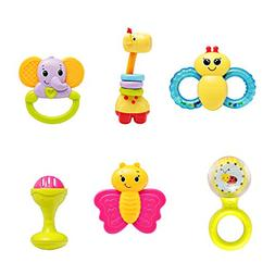 infunbebe Baby Rattles Teether Toy, Grab, Shaker and Spin Ra
