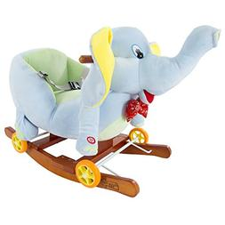 Rocking Horse Plush Animal Elephant 2-in-1 Wooden Rockers &