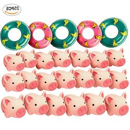 20PCS Butterfunny Rubber Pig Baby Bath Toy for Kid with 5 Mi