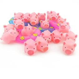 20PCS TKOnline Rubber Pink Pig Baby Bath Toy with 4 Mini Swi