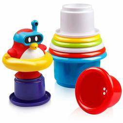 Set 8 Bath Toys  for Toddlers Nesting Stack up Cups with Hol