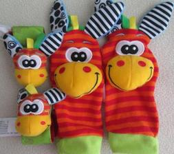Set of 4 New Red Wrist and Leg Rattles for Baby