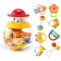 Baby Teether Toys Shake and Grab Rattle Toy Gift Set for Inf