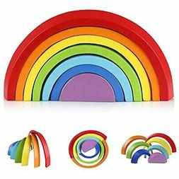 Coogam Shapes & Colors Wooden Rainbow Stacker Nesting Puzzle