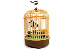 AMPERSAND SHOPS Singing & Chirping Bird Toy In A Cage with R