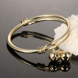 Smooth Small Bells Yellow Gold GP Adjustable For Baby Bangle