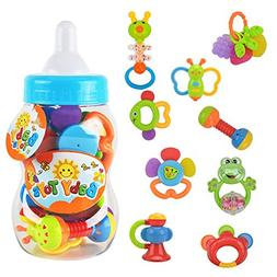 Infant Soft Rattle Toys Set Of 9 Teether Sounding Multicolor