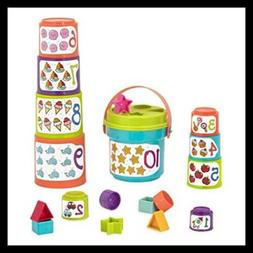 Battat - Sort & Stack - Educational Stacking Cups with Numbe