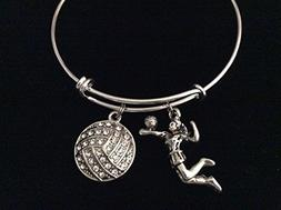 Spike It Volleyball Girl Charm on a Silver Expandable Bracel