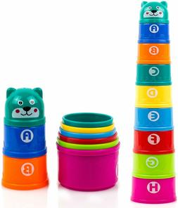 New Stacking Cups with Numbers Letters & Animals Bath Toys f