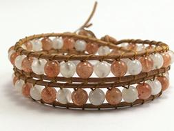 Sunstone. Moonstone Double Wrap Leather Bracelet,Leather bra