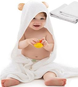 Super Soft Organic Bamboo Hooded Baby Towel with 2 Washcloth