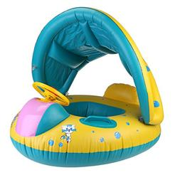 WINOMO Baby Swimming Float Boat with Sunshade Seat with Horn