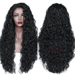 Oxeely Synthetic Hair Loose Curly Wave Lace Front Wig Gluele