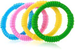 Best Baby Teether - 4 Silicone Sensory Teething Ring Toys -