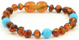 Baltic Amber Teething Bracelet for Babies with Turquoise Bea