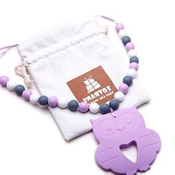 Baby Teething Necklace -- Owl Teether Pendant Necklace for M
