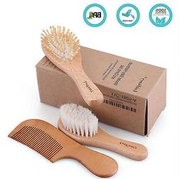 Newborns Baby Toddlers Hair Wooden Soft Bristle Brush Comb S