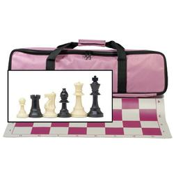 Tournament Chess Set with Pink Bag - 3.75 in. King Solid Pla