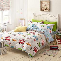 HIGOGOGO Toy Car Pattern 100-Percent Cotton Duvet Cover Set,
