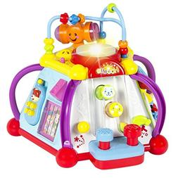 Baby Toy Musical Activity Cube Play Center with Lights,15 Fu