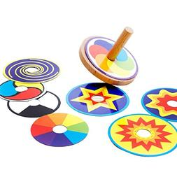 Kids Toy Wood Spinning Top Classic Toy Montessori Colorful 8