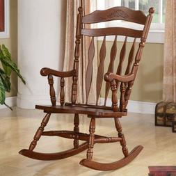 Traditional Wood Rocking Chair, Made Of Solid Wood, Presente