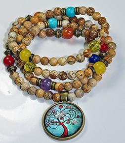 Tree of Life Picture Jasper Mala Gemstone Necklace, 7 Chakra