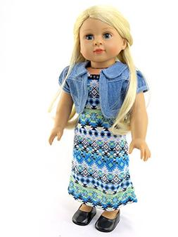Tribal Print Maxi Dress Outfit - 18 Inch Doll Clothes - Amer