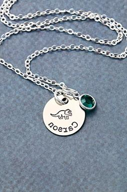 Triceratops Necklace - DII - Personalized Silver Dino Gift -