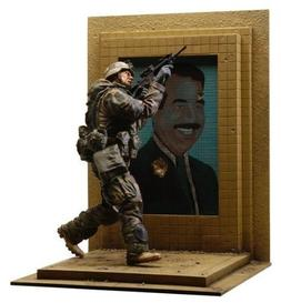 U.S. Army 3rd I.D. Action Figure w Bullet Riddled Saddam Hus