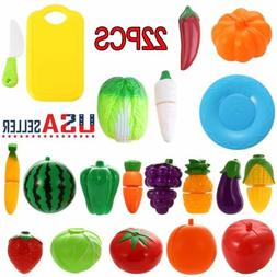 US Cutting Fruits and Vegetables Toy Playset Pretend Play Ga