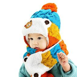 Datework Baby Useful 2 in 1 Cartoon Hats Baby Hats Hat Scarf
