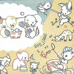 Vintage Hand Embroidery repo 199 Pets for Baby lamb kitten elephants puppy