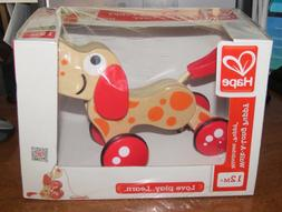 Hape Walk-A-Long Puppy Wooden Pull Toy NEW retail box damage