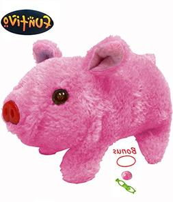 FUNTIVO Walking Pig Toy Oink Piggy with Lights and Sound –
