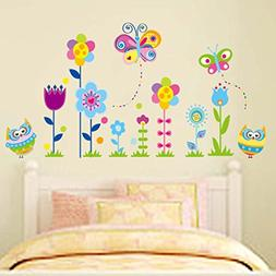 Wall Decal Beautiful Flowers Lovely Owls Butterflies Home St