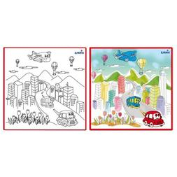 Dimple Kids Small Washable Coloring Play Mat with 'Bustling