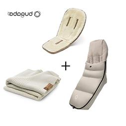 Bugaboo Winter Accessories Bundle: Wool Seat Liner, Off Whit