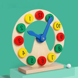Wood Clock Toy Teaching Aids 12-Hour Clock Early Educational