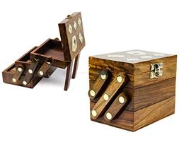 Wood Crafted Multi Game Box | Cards | Domino | Dice | Wooden
