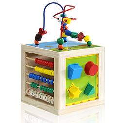 Wooden Activity Cube Bead Maze - NaXY 5 In 1 Learning Activi