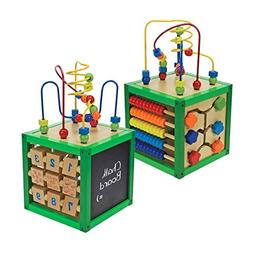Childrens Wooden Activity Cube Play Learning Numbers Maze Ab