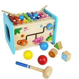 Wooden Activity Cube Xylophone Pounding Toy Shape Sorter Tod
