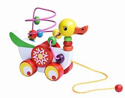 HWD Wooden Animal Cute Duck Pull Carts Circle Bead Maze Pres