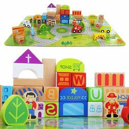 Wooden Building Blocks for Toddlers & Educational Baby Toy J