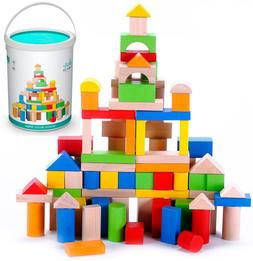 Wooden Building Blocks Set - 100 pcs Toy for Kids, Toddlers